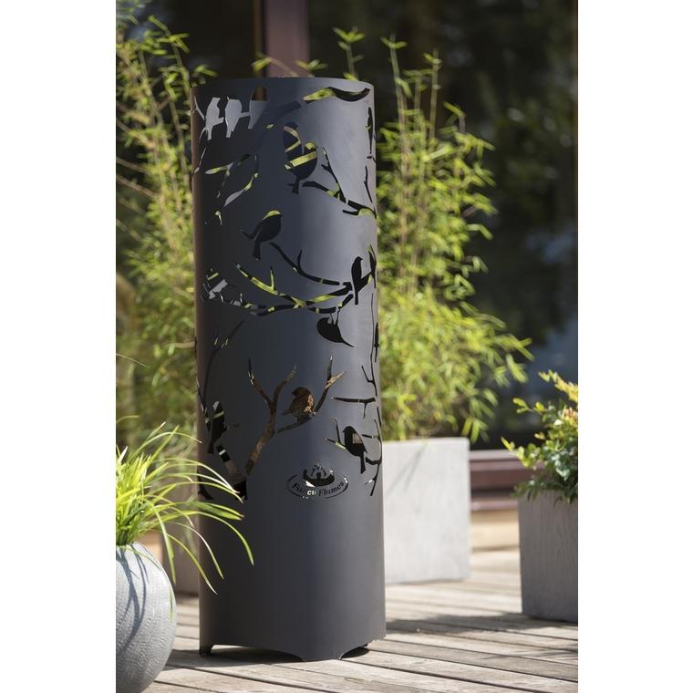 Brasero cylindre découpe avec motifs oiseaux Ø 39,5 x 118 cm 506778
