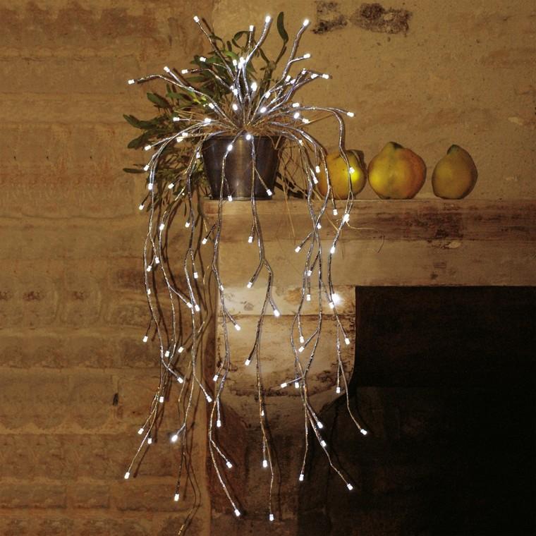 Bouquet lumineux cascade branches argentées et led blanc