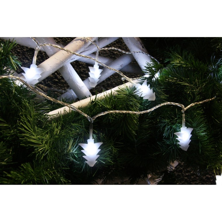 Guirlande lumineuse 20 sapins opales LED blanc 3 m 51887