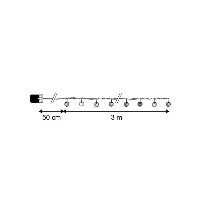 Guirlande lumineuse 20 boules striées 3 m