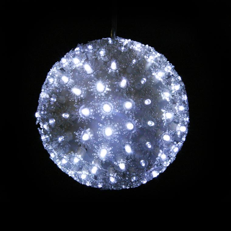 Boule lumineuse fleurs D. 18 cm 51899