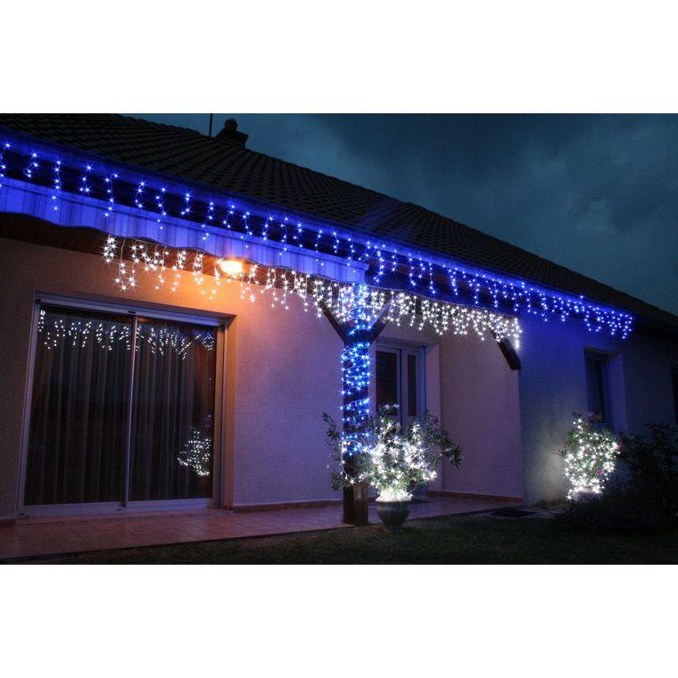 Guirlande stalactite 144 LED blanc raccordable et animable 9 m 52108