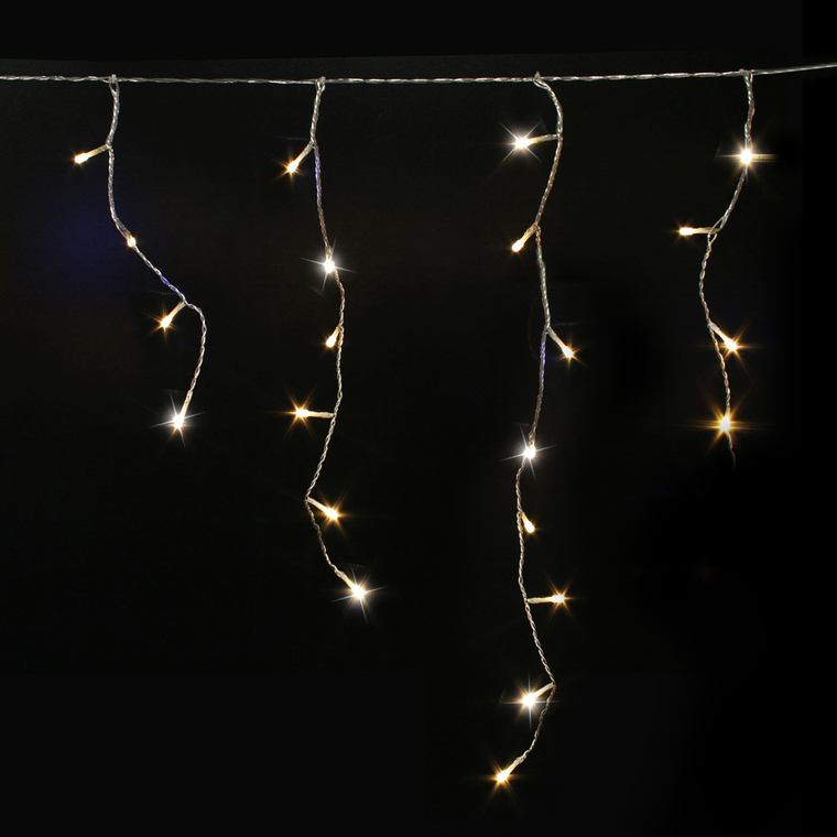 Guirlande stalactite 60 descentes 300 LED pétillant blanc chaud 10m 52124