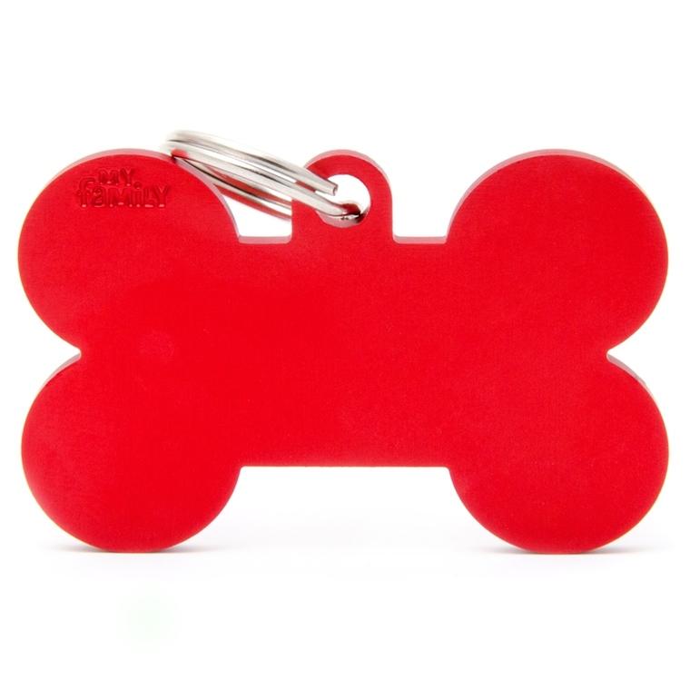 Médaille basic os XL pour chien en aluminium rouge 523239
