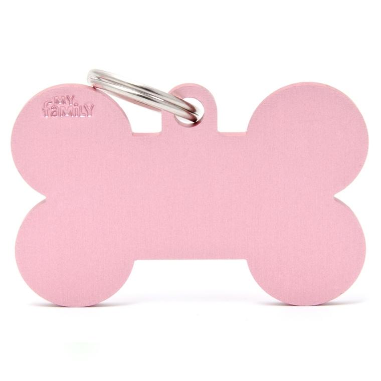 Médaille basic os XL pour chien en aluminium rose 523246