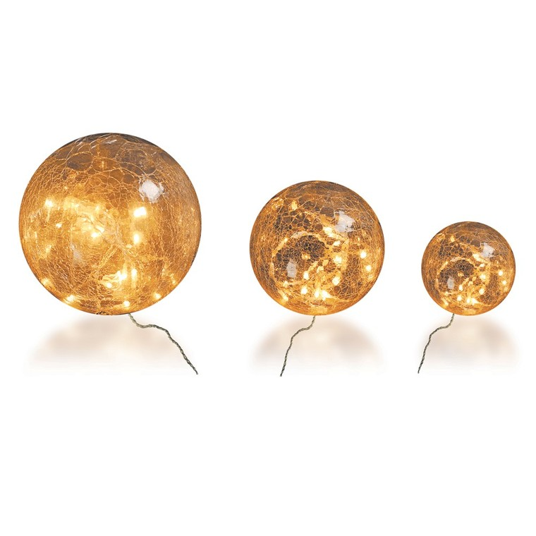3 Boules Verre 20-15-10 cm Led 60 Blanc 52418
