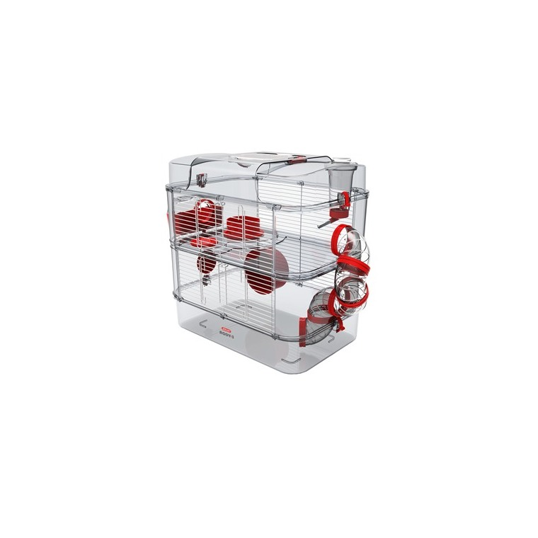 Cage pour petits rongeurs duo rouge 529221