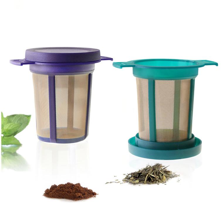 Ensemble de 2 filtres à thé de couleur avec égouttoir assorti 531823
