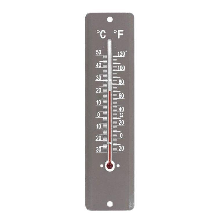 Thermomètre en tôle peinte coloris taupe de 20 cm