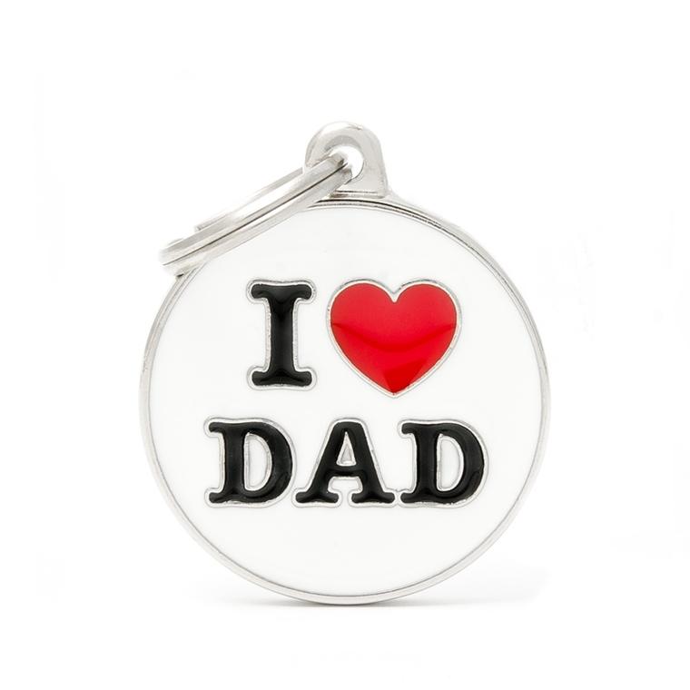 Médaille charms I love dad pour chien en métal 534351