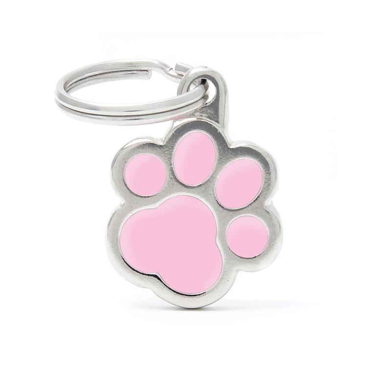 Médaille classic patte rose pour chien en acier 534358