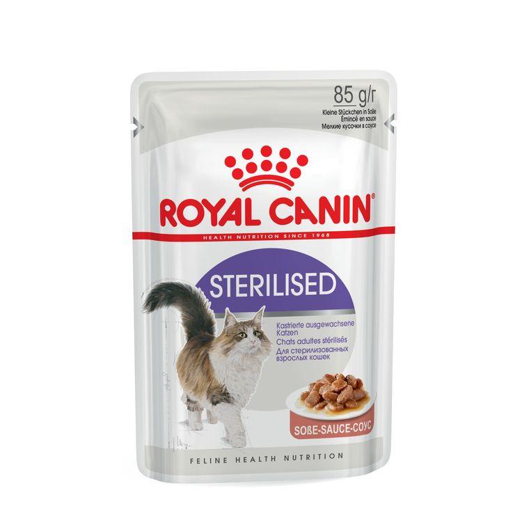 Aliment humide pour chat Sterilised Sauce. Le sachet de 85 g 53480