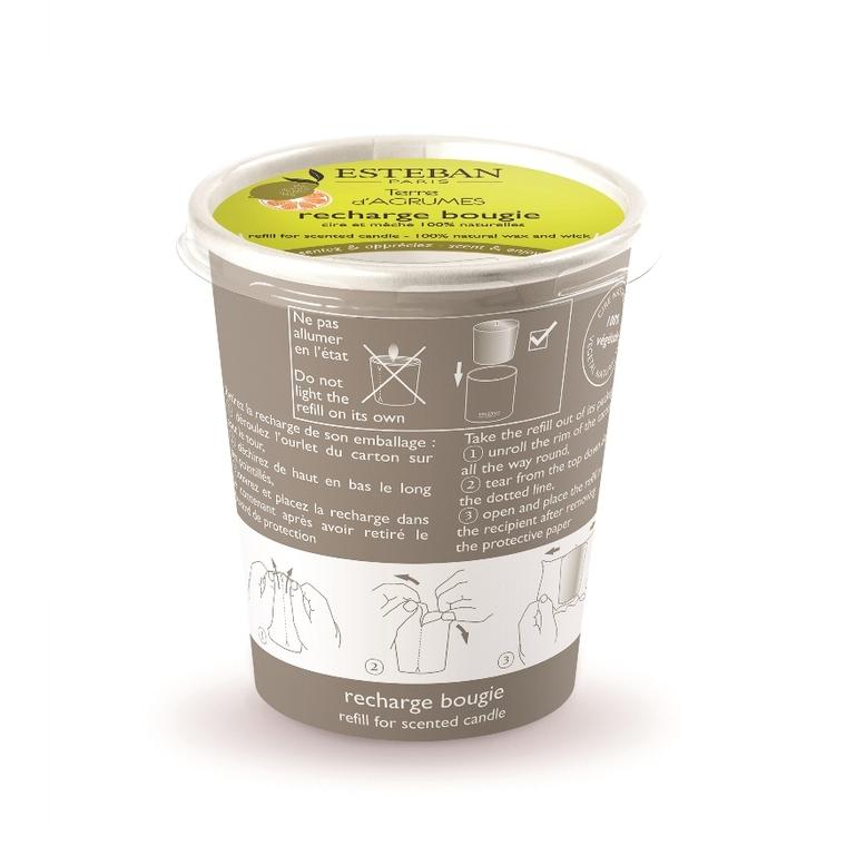 Recharge de bougie parfumée terre d'agrumes 9,5 x 8 cm 535524