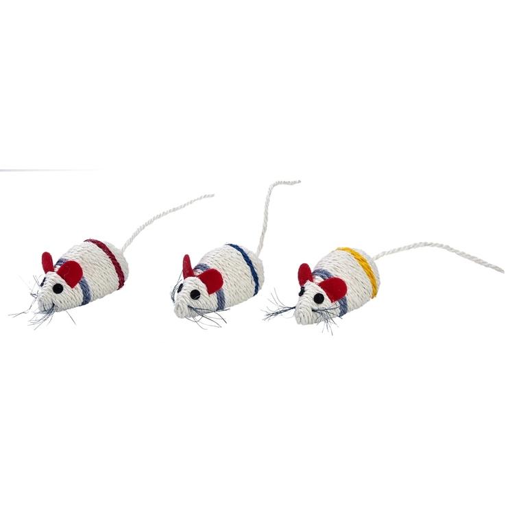 Jouet Mouse en sisal blanc bande jaune 10x5 cm 535895