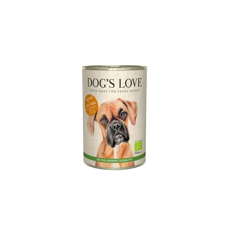 Boîte bio à la dinde pour chien, 400 g 536002
