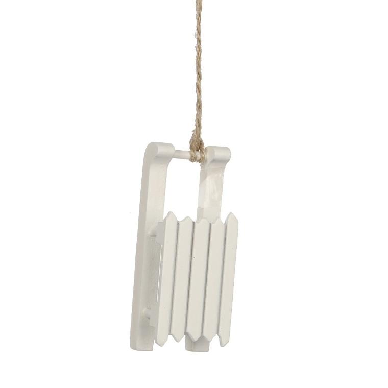 Traineau en bois blanc à suspendre L 10cm 54764