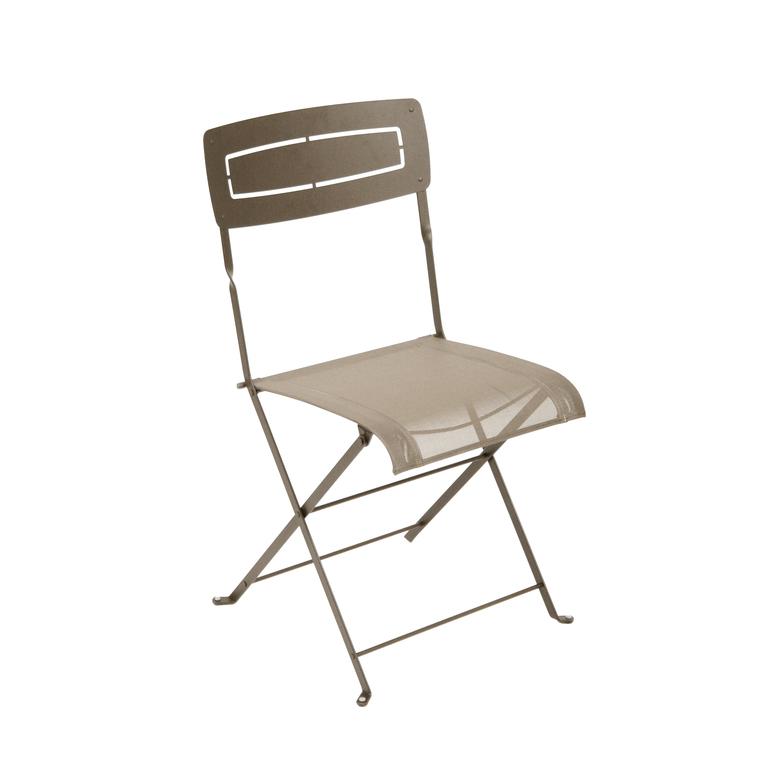 Chaise pliante SLIM acier muscade