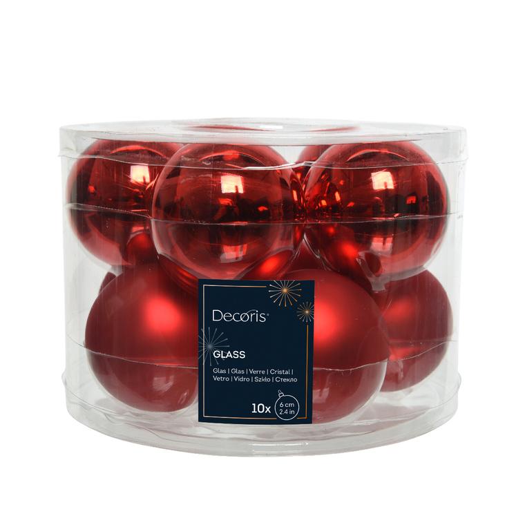 Boite de 10 mini-boules en Verre rouge brillant et mat – Ø 6 cm 55461