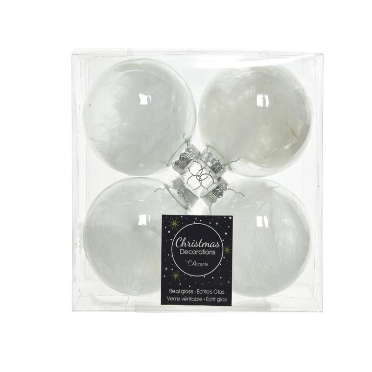 Boite de 4 boules verre avec plumes intérieur 55480