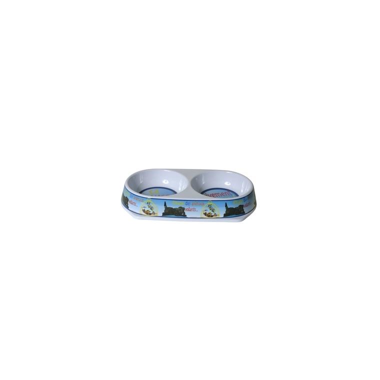 Gamelle double en mélamine motif chien - 2 x 450 ml 558385