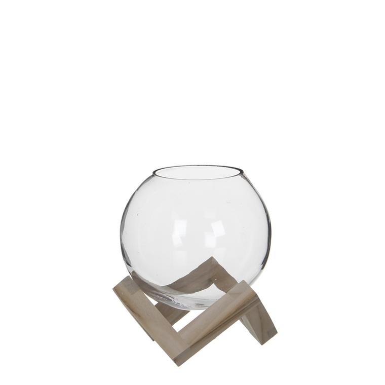 Boule en verre Tokio sur support en bois petit modèle H 20 x Ø 18 cm 568542