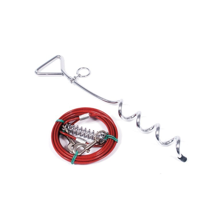 Kit piquet d'attache chien + câble 3 m