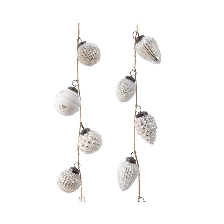 Guirlande boules rondes ou pommes de pin en verre blanc L 120 x Ø 6 cm 596516