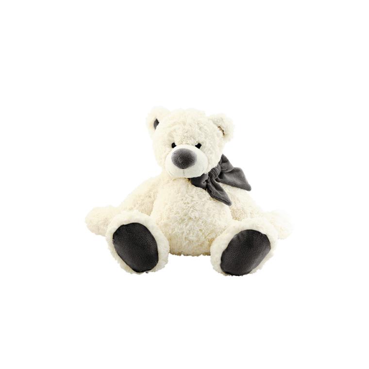 Ours polaire avec noeud gris Hauteur 30 cm 59918