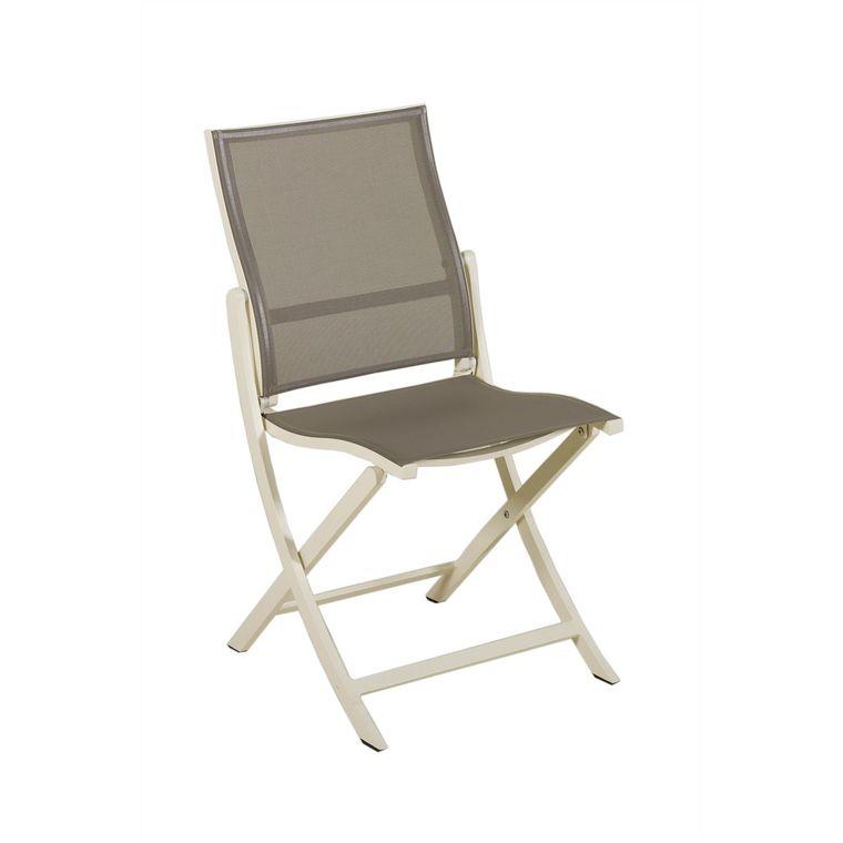 Chaise de jardin pliante Hegoa taupe : Chaises de jardin LES JARDINS ...
