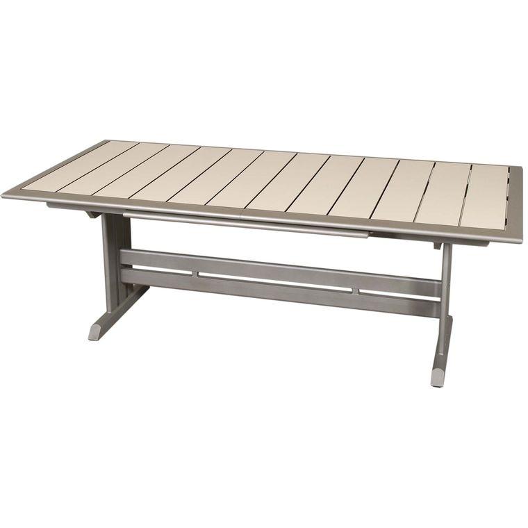 Table extérieure Hegoa L 184/243 cm muscade/gris : Tables de jardin ...
