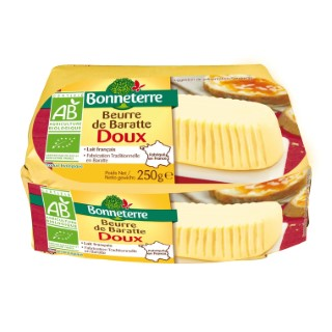 Beurre de baratte doux Bonneterre 250 g 611579
