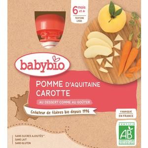 Gourdes pomme carotte dès 6 mois - 4x90 gr 611711