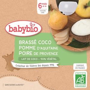 Gourdes Brassé Coco Pomme Poire dès 6 mois - 4x85 gr 611715