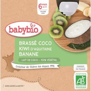Gourdes Brassé Coco Kiwi Banane dès 6 mois - 4x85 gr 611716