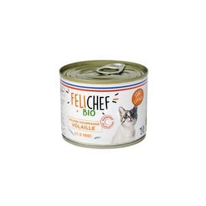 Mousse à la volaille bio sans céréales pour chat adulte en boîte de 200 g 612451