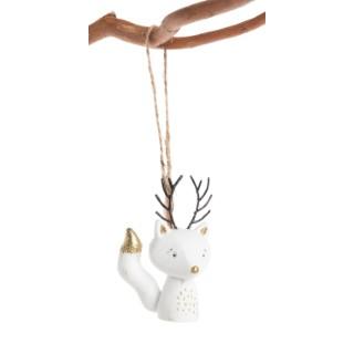 Ornement de Noël blanc à suspendre Sapin ou Renard 5x2x8,5cm 616296