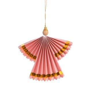 Ange de Noël papier à suspendre coloris rose ou gris 17x1,5x16 cm 616320