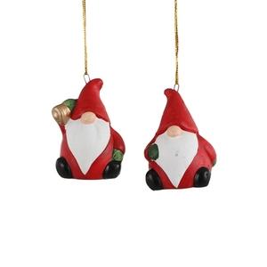 Ornement gnome rouge de Noël à suspendre 4,5x3x6,5 cm 616366