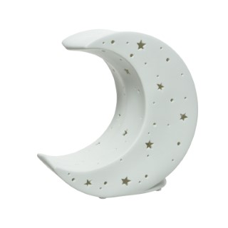 Lampe lune en porcelaine blanche 616701