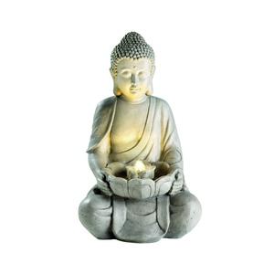 Fontaine LED avec statue de bouddha grise 34 x 42 x 71 cm 617088
