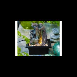 Fontaine intérieure LED avec rocher noir 17 x 20 x 24 cm 617094