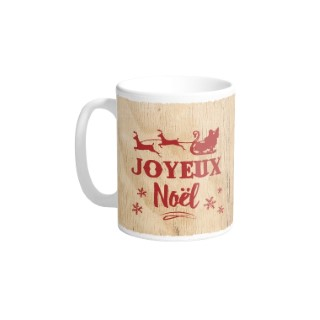 Mug en céramique fond bois décor Joyeux Noël rouge H 9,5 x Ø 8cm 617304