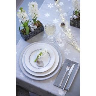 Chemin de table en coton argent transparent à motif flocons 50x150 cm 617396
