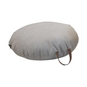 Coussin de sol en coton gris Ø 60 cm avec anse en cuir 617452