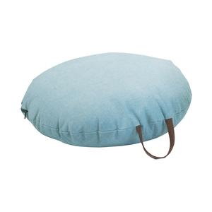 Coussin de sol en coton bleu turquoise Ø 60 cm avec anse en cuir 617454
