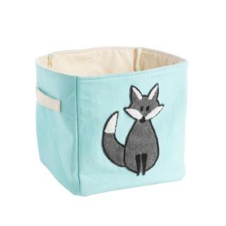 Panier de rangement en coton turquoise à motif renard gris 25x25x25 cm 617457