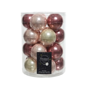 Boîte de 20 boules de Noël Ø 6 cm assorties rose clair et foncé 617544