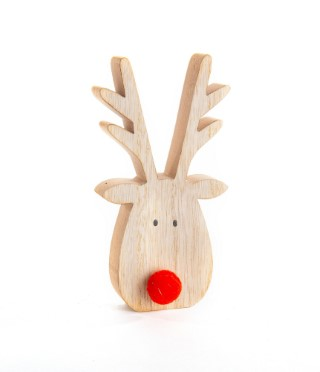 Tête de renne à poser en bois avec nez rouge 8x15 cm 617856