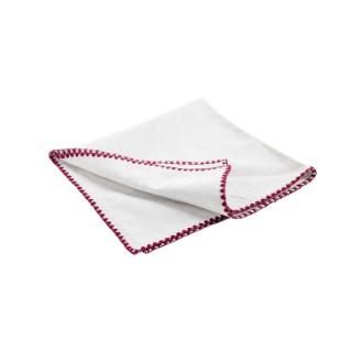 Serviette de table blanche en coton brodée lie de vin de 45 x 45 cm 618077