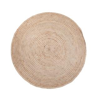 Tapis rond en jute et coton beige Ø 120 cm 622478